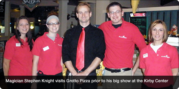 Magician Stephen Knight visits Grotto Pizza prior to his big show at the Kirby Center
